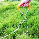 TerriTrophy Dog Tie Out Cable, Dog Stake for Medium to Large Dogs Up to 125 Pounds, Play in The Yard and Lawn, for Camping and Outing, Orange