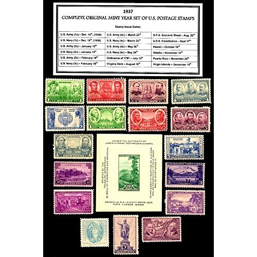 Mint Set Envelope - 1937 Year Set of 17 Mint Never Hinged Stamps Plus Souvenir Sheet Scott 785-802 By USPS