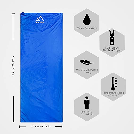 Terra Hiker Saco de Dormir por 3 Temporadas, 750g, Ultra-Compacto y Ligero, 8 °C - 15 °C, 195 cm x 75 cm, para Viajes, Camping, Senderismo, Escalada (Azul ...