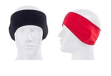 fe1dff3a88954f LOOGU Zwei Fleece Stirnbänder für Frauen und Männer - Extra Breite  Ohrenwärmer - Universal Headband Unisex