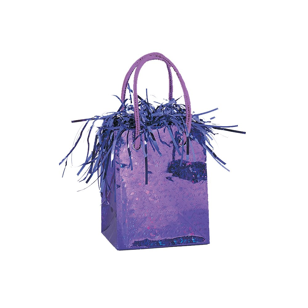 Gift Bag Shaped Dark Purple Balloon Weight by Unique