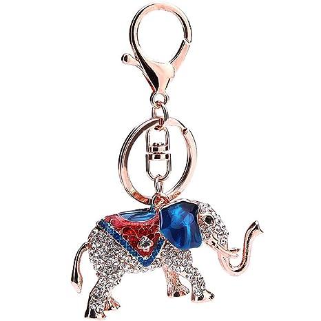 9620e08a8 Outflower Llavero Forma Elefante - Llaveros Cadena Parejas Elegante  Rhinestone Llavero Colgante Accesorios - Apto para
