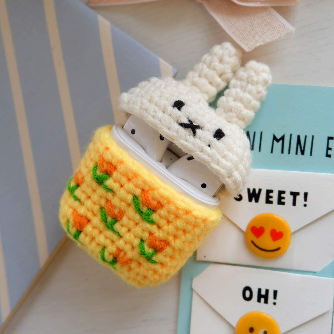 Little Duck MIRKOO Cute AirPods Case Cover Premium Handmade Knitted Protective Case Cover for AirPods//AirPods 2 Charging Case