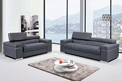 Amazon.com: J&M Furniture Soho Gray Leather Sofa & Loveseat with ...