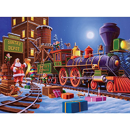 Bits and Pieces - 300 Piece Jigsaw Puzzle for Adults - Winter Wonderland - 300 pc Santa's Express Christmas Train Jigsaw by Artist Geno Peoples