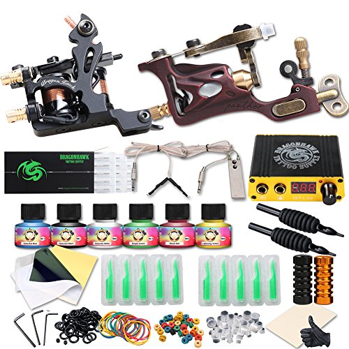 Dragonhawk Complete Tattoo Kit 2 Pro Machines Rotary Gun Power Supply Needles Immortal Inks Grips Tips 2-1YMX