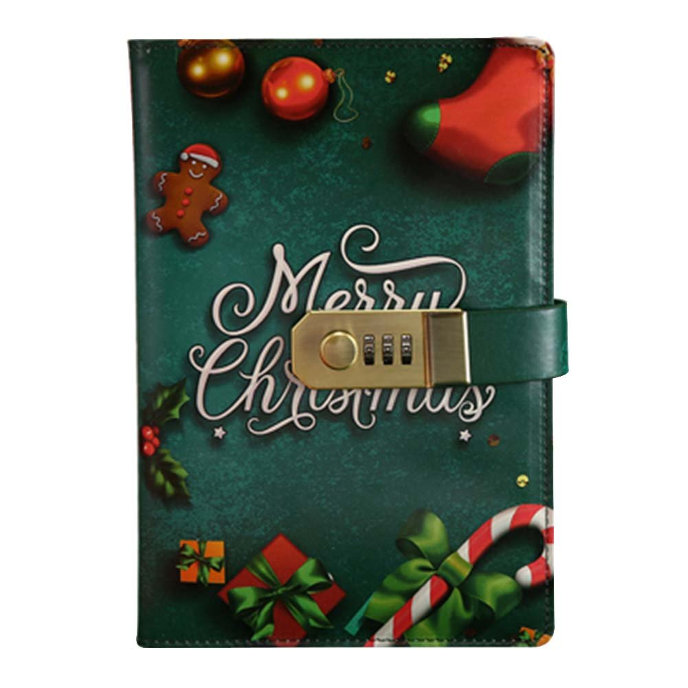 Creative Password Notebook with Lock Notebook Diary Business Notepad, Christmas Black Temptation