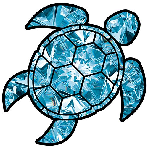 Decals Window Turtle (Blue Topaz Sea Turtle Birthstone Decal December Print Sticker Vinyl Rear Window Car Truck Laptop Gem Travel Mug Water and Fade Resistant 2.5