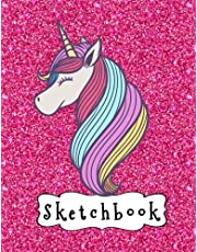 """Sketchbook: Cute Unicorn On Pink Glitter Effect Background, Large Blank Sketchbook For Girls, 110 Pages, 8.5"""" x 11"""", For Drawing, Sketching & Crayon Coloring"""