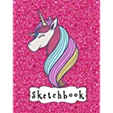 Sketchbook: Cute Unicorn On Pink Glitter Effect Background, Large Blank Sketchbook For Girls, 110 Pages, 8.5' x 11', For…