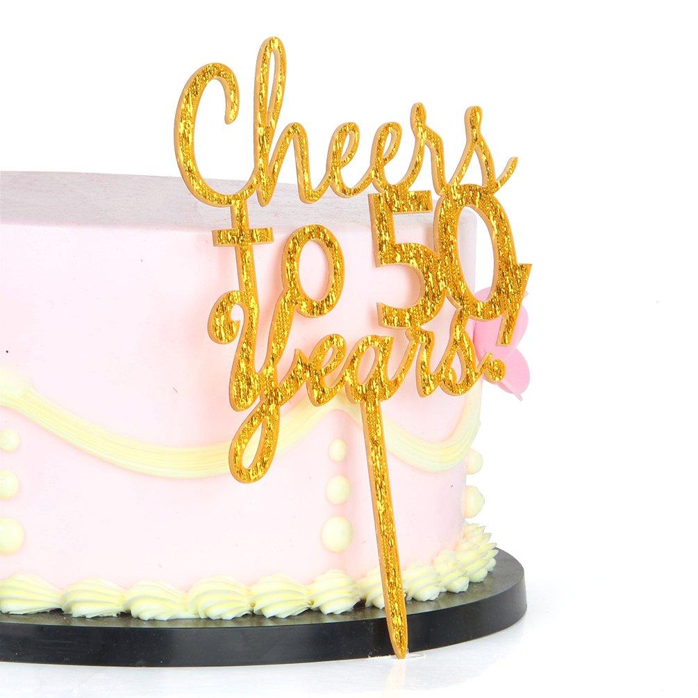 Amazon.com: INNORU Cheers to 50 Years Cake Topper - 50th Birthday ...