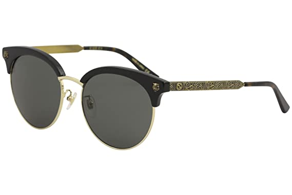 5a91f86daa Amazon.com  GUCCI GG0222SK 001 Black Gold Cateye Sunglasses  Clothing