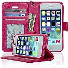 Navor Flip Wallet Book Case [Removable Wrist Strap] [Kickstand] for iPhone 5 / 5S / SE - Hot Pink (IP5OHP)
