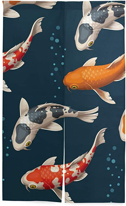 Koi Fishes Long Noren Japanese Doorway Curtain Tapestry Linen Home Decor
