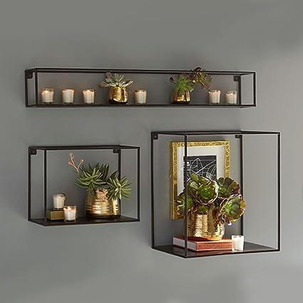 Rack Shelf Retro Bookshelf Mounted Display Wall Decoration Bedroom Living Room Shelves Square Iron