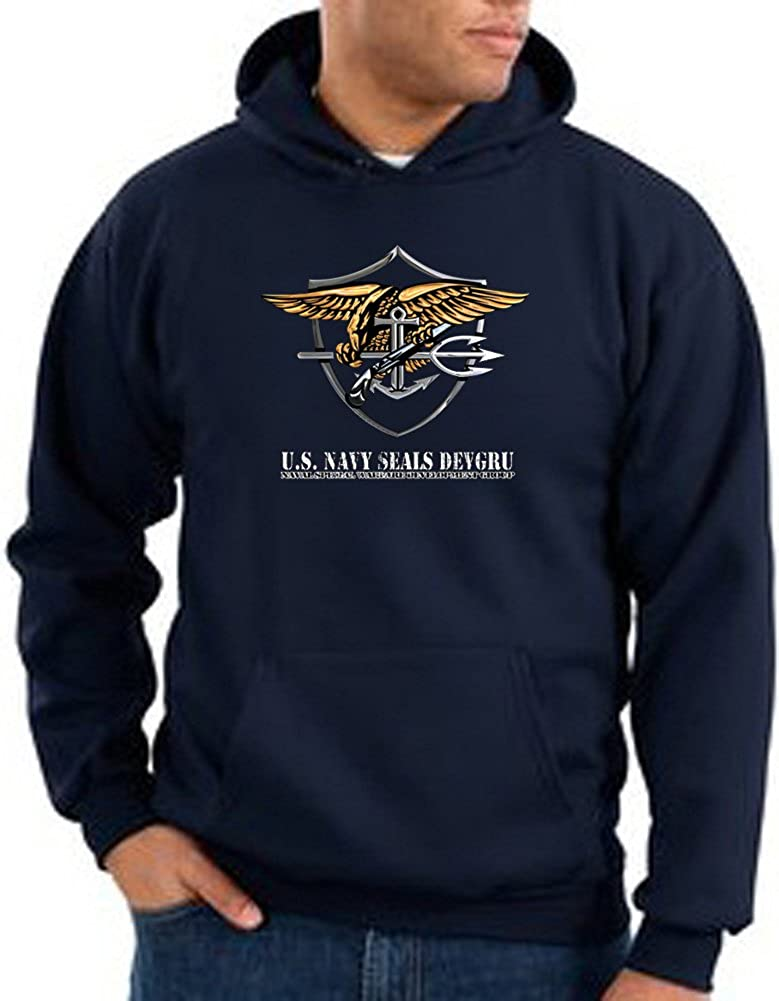 US Navy Seal Hoodie Sweat Shirt - Patriotic Adult Hooded Sweatshirt - Navy 13053HD2-PC90H-NVY