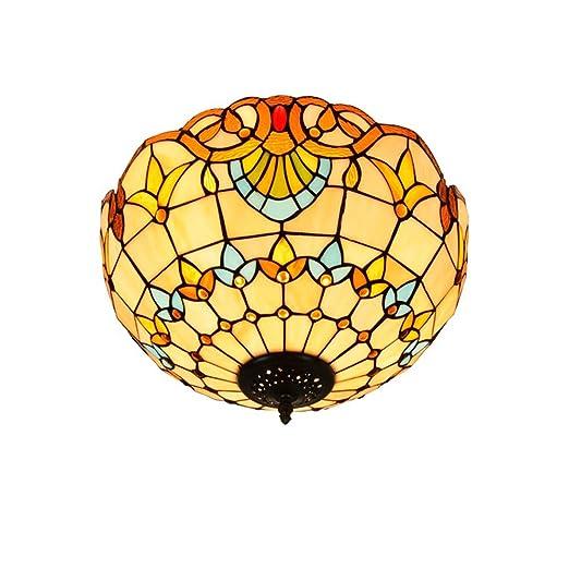DengDD Europeo de UVA marrón Tiffany Color Vidrio lámpara de Techo ...