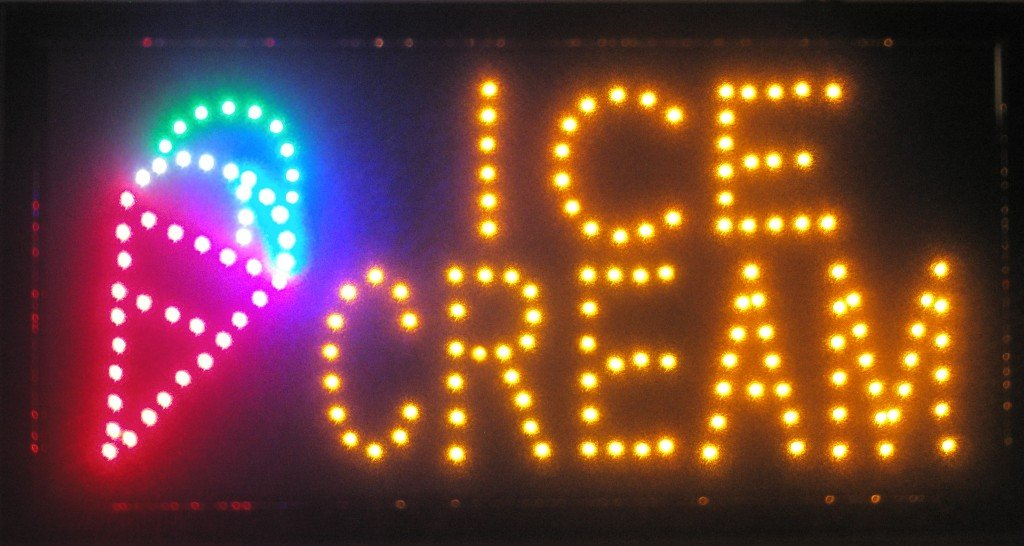 e-onsale LED Neon Light Open Sign With Animation On/off and Power On/Off two Switchs for Business By (Ice Cream L07)