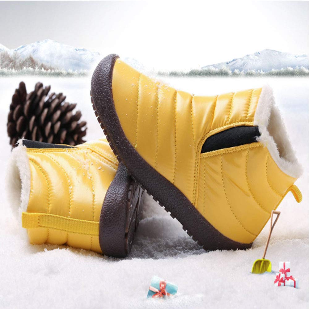 Kids Snow Boots Winter Boots Outdoor Hiking Lightweight Slip-on Waterproof Side Gore Short Ankle Cold Weather Warm Fur Lined Boots for Boys Girls and Toddlers