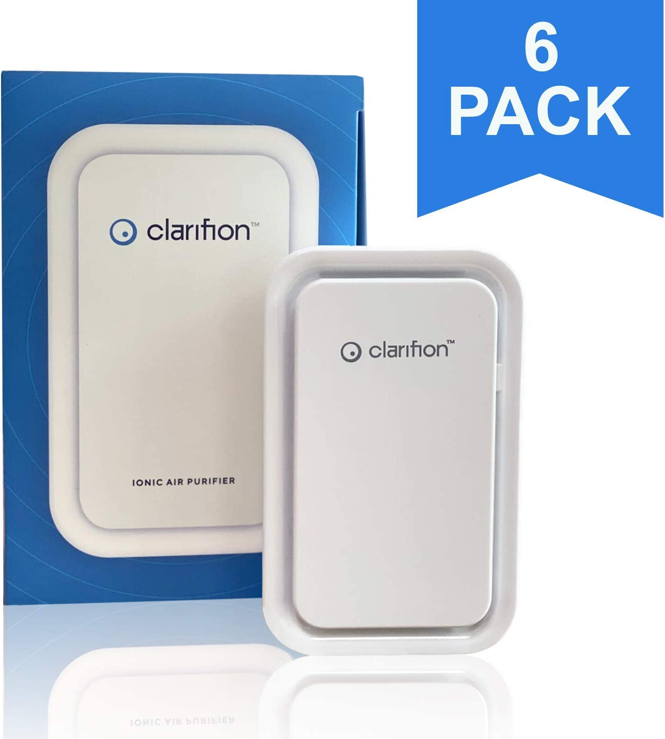 Clarifion - Negative Ion Generator with Highest Output (6 Pack) Filterless Mobile Ionizer & Travel Air Purifier, Plug in, Eliminates: Pollutants, Allergens, Germs, Smoke, Bacteria, Pet Dander & More