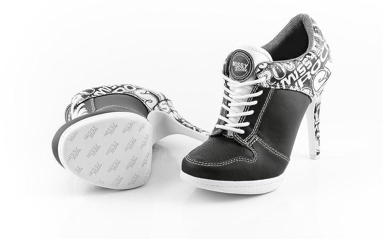 MISSY ROCKZ Bequeme Turnschuhe High Heels Damenschuhe Street ROCKZ schwarz schwarz schwarz mit 10 5 cm Absatz angesagte Freizeitschuhe 3dc3ca