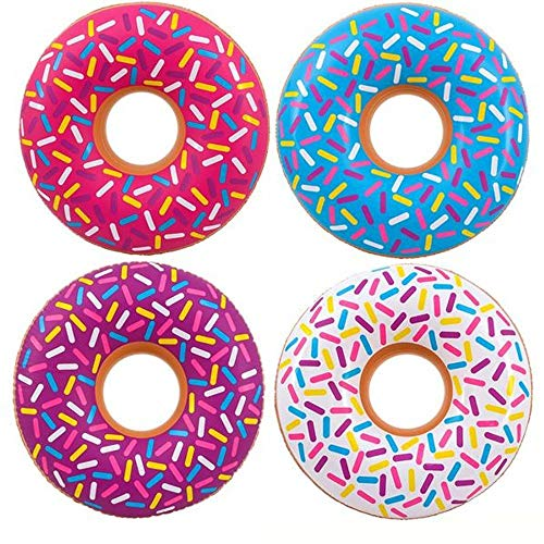 Kicko Inflatable Donut Kids' Pool Float - 4 Pack, Multi-Colored 18 Inch Frosted Looking Doughnut Blow-up Swim Tube Toy for Swimming, Floating, Summer Beach Games, Party Decoration (Floats Pool Clearance)