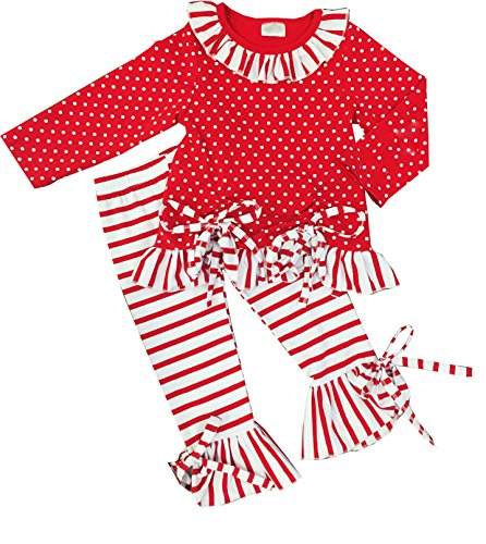 Boutique Clothing Girls Valentine Polka Dots Stripes Ruffles Pant Set Red White 6 by Angeline