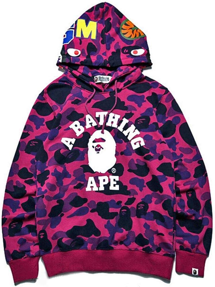 Men's Bape A Bathing Ape Full Zip Shark Head Camo Hoodie Coat Sweatshirt Jacket