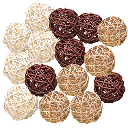 Pemalin Natural Decorative Wicker Rattan Balls- Vase Filler, House Ornament, Christmas Tree Garden Wedding Party Coffee Table Decoration,Craft DIY, Parrot, Bird Toys Balls (Lights Rattan Diy Ball)