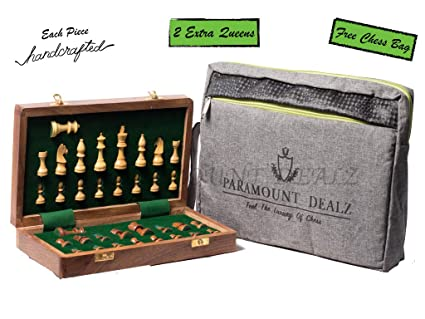 Paramount Dealz Premium Wooden Handcrafted Folding Chess Set with Magnetic Pieces (10 Inches)