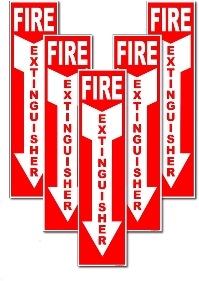 Laminated for Ultimate Protection Durability Self Adhesive Decal UV Protected /& Weatherproof Set of 10 Fire Extinguisher Sign 4 x 12 5 Mil Vinyl