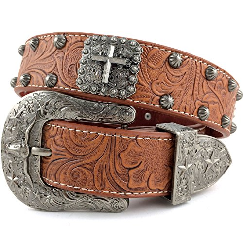 [Western Peak Men's Tooled Genuine Leather Square Cross Concho Embossed Buckle Belt (L)] (Cross Concho)
