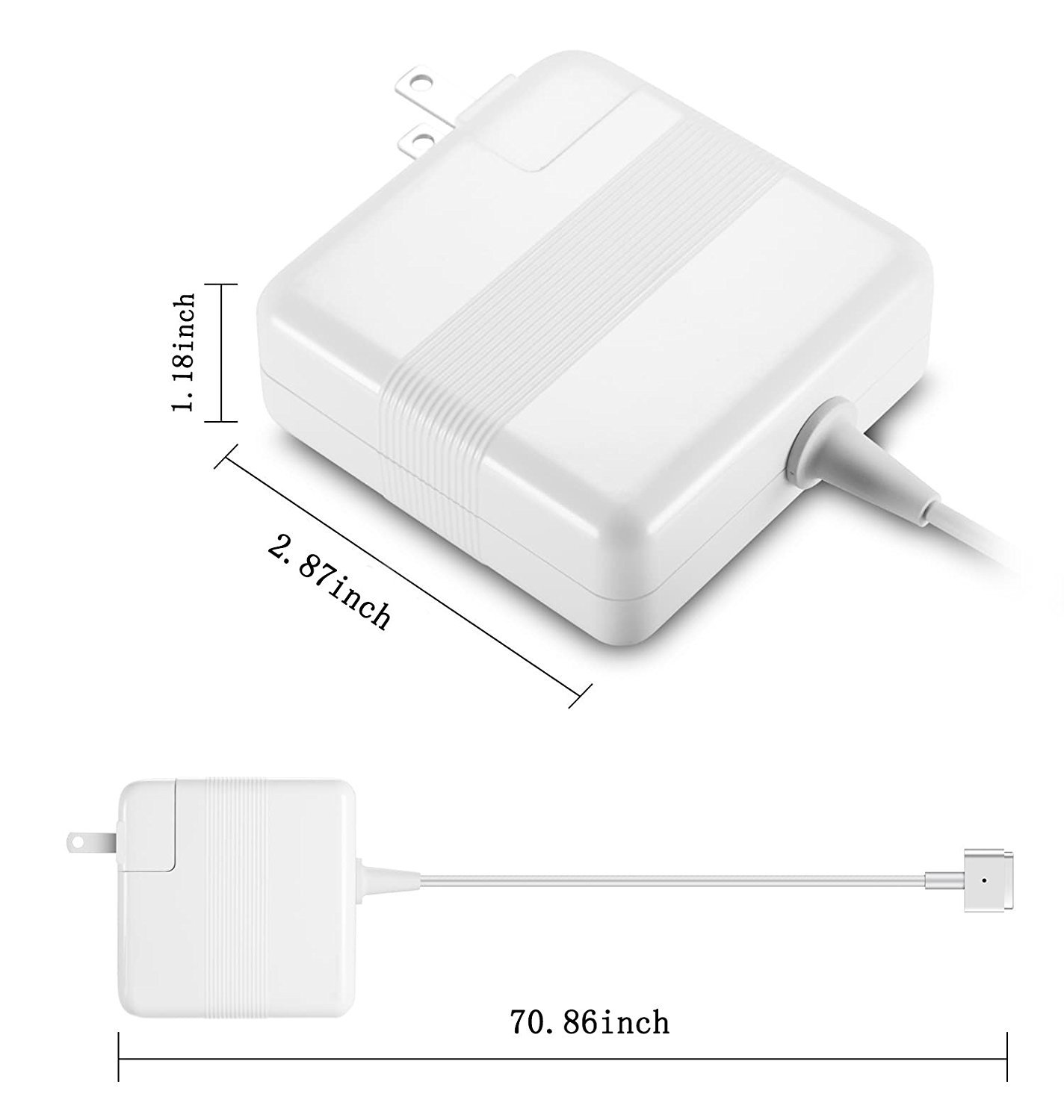 Macbook Pro Charger, 60W Macbook Magsafe 2 Charger with T-Tip, 60W Magsafe 2 Charger Power Adapter for MacBook Pro/Air 13 Inch (Mid 2012 Later Model)