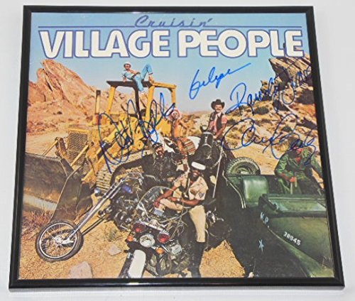 Village People Gay Costume (Village People Cruisin' YMCA +4 Group Signed Autographed Record Album Lp with Vinyl Framed Loa)