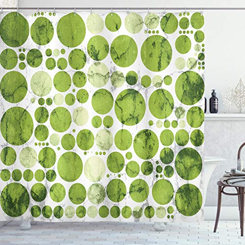 Ambesonne Polka Dots Home Decor Collection, Nature Inspired Large Polka Dots Spirals Stripes Decorative Artful Illustration, Polyester Fabric Bathroom Shower Curtain, 75 Inches Long, Green White (Spiral Shower Curtain)