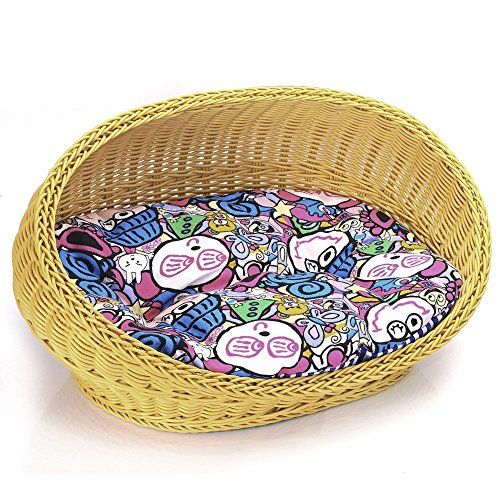 Techeer Luxury Hand-woven Pet Basket Beds for Dogs Cats Christmas Gift
