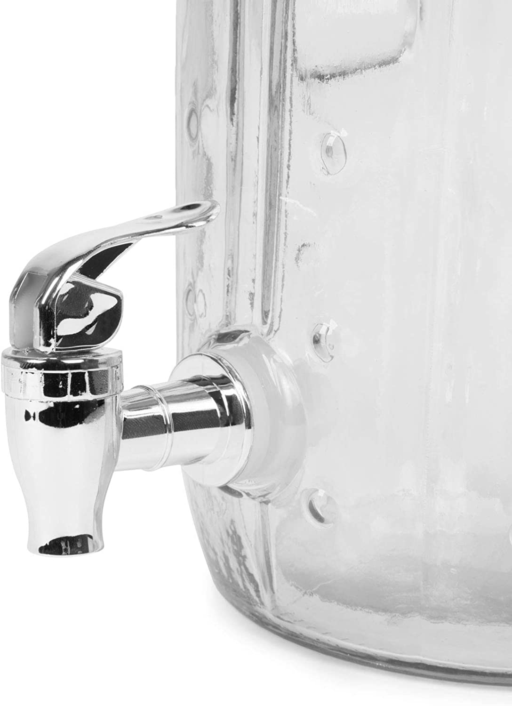 Dispensador de limonada con grifo 3 litros de capacidad Dispensador de zumo con grifo de cristal calavera EKNA Dispensador de bebidas con grifo