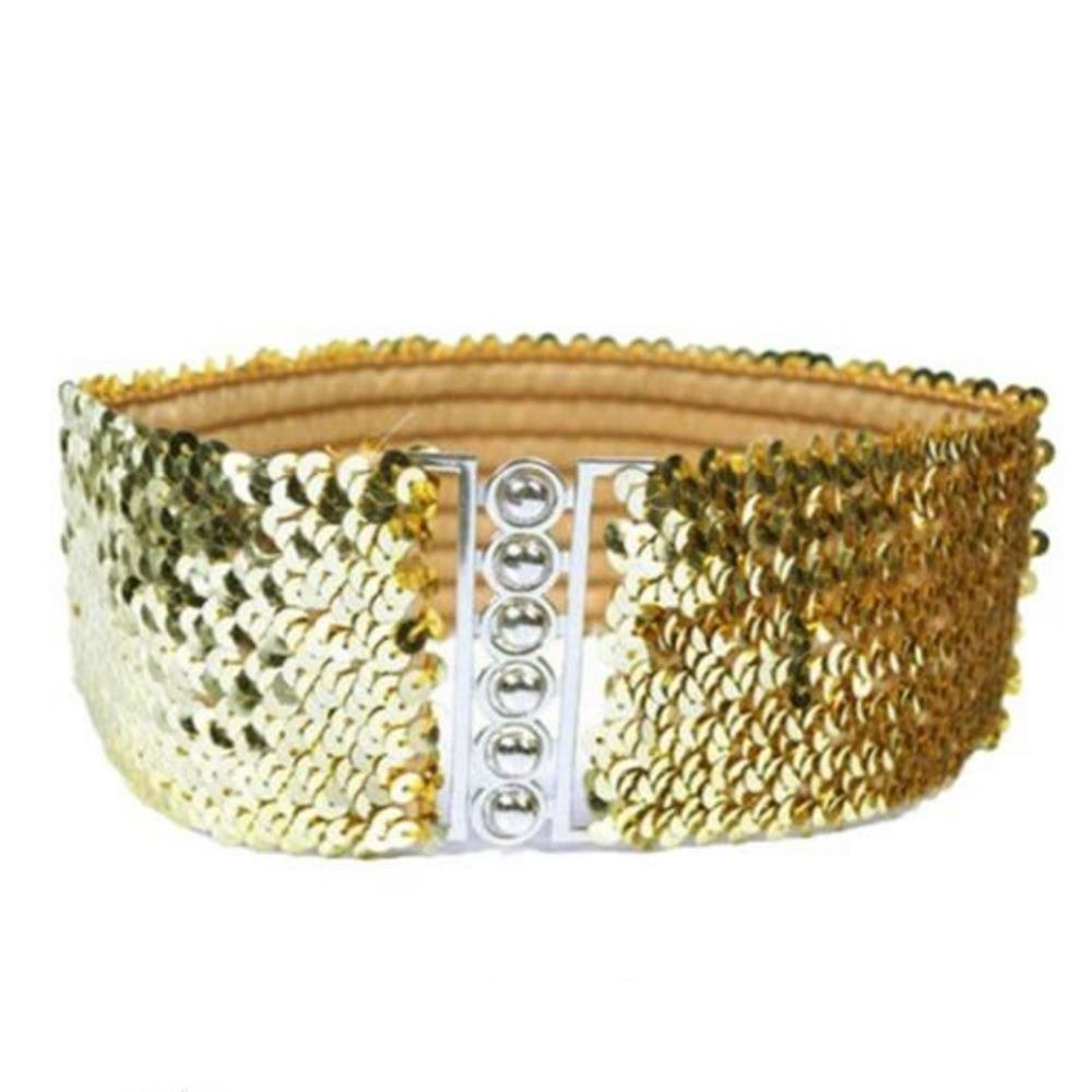 Trimming Shop Black Small Womens Elasticated Waist Belt for Formal 60mm Casual Wear with Gold Famed Buckles and Bejewelled Fake Diamantes Adjustable Stretchable