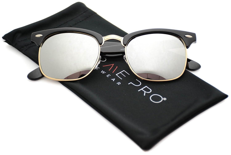 a6838ab7c94 WearMe Pro - Half Frame Retro Semi-Rimless Style Sunglasses Retro Mirror  Lens Sunglasses