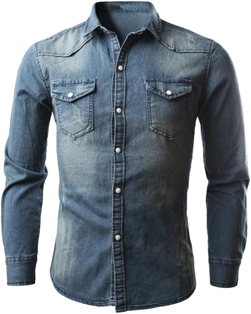 Hombres Camisetas De Manga Larga Camisas De Hombre Retro Ropa Camisa Vaquera del Vaquero Blusa Fina Delgada Larga Tops Camisa De Jeans De Mezclilla Apto De La Camisa Camisa De Los Angarmhemd: