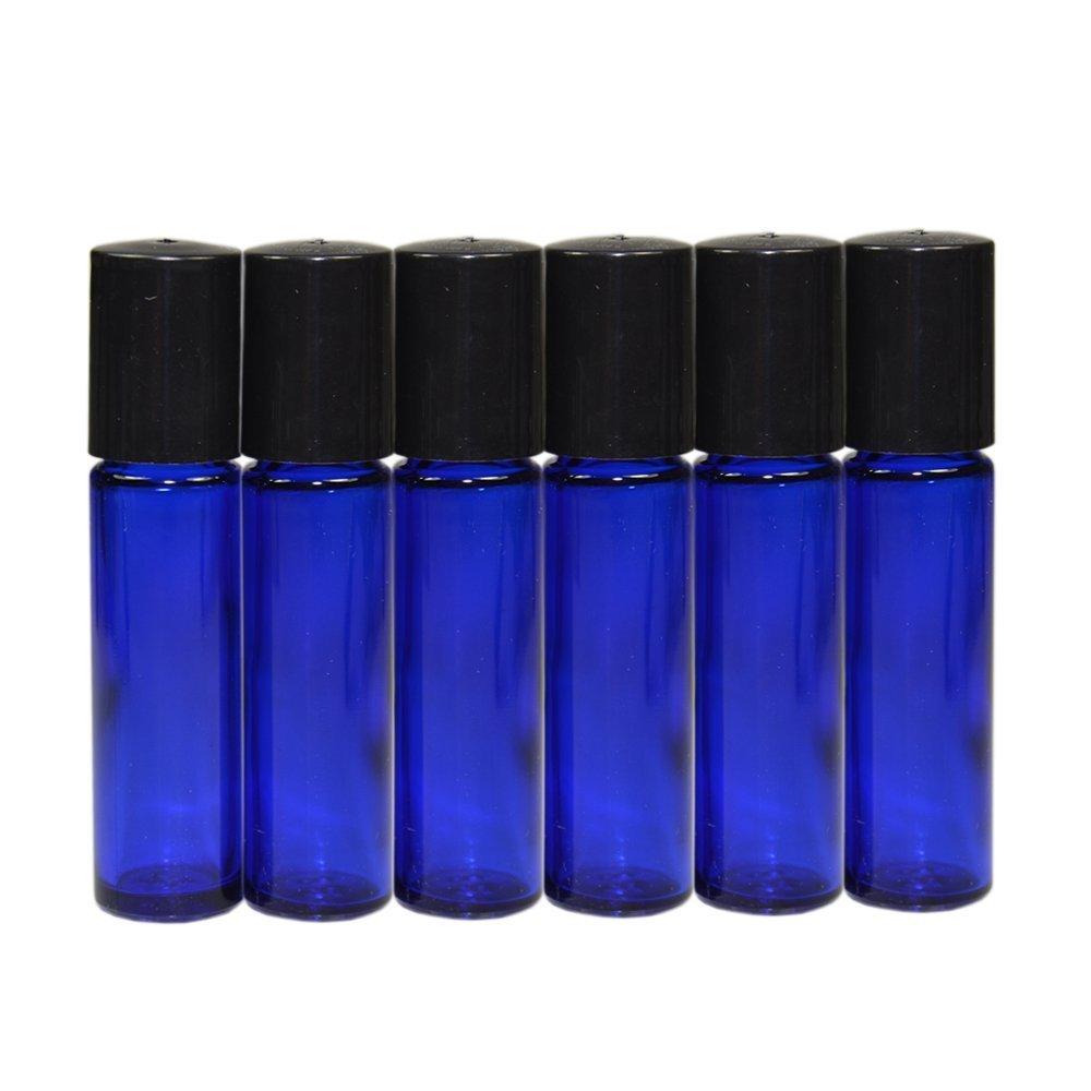 6x 10ml bottiglia di vetro rullo blu vuote ricaricabili a sfera in metallo bottiglia di vetro rotolo su vetro bottiglia per profumo Lozione Siero olio essenziale per aromaterapia Wilotick