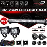 85 yamaha virago 1000 - DOT 36Inch 234W LED Light Bar Offroad + 2PCS 4In 36W Cube Pods Driving Lights Triple Row W/Rocker Switch Wiring Harness Tube Clamp Mounts For Tractor Truck Ram 1500 Honda Jeep ATV GMC Chevy 4 wheeler