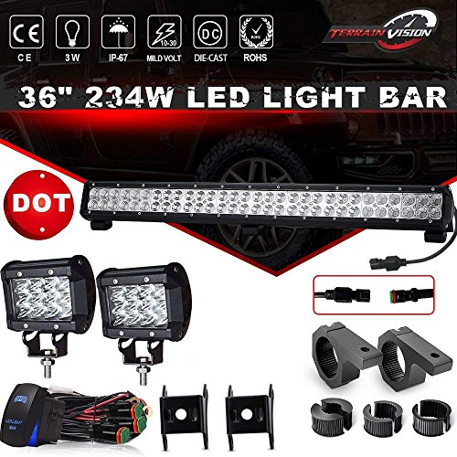 (DOT 36Inch 234W LED Light Bar Offroad + 2PCS 4In 36W Cube Pods Driving Lights Triple Row W/Rocker Switch Wiring Harness Tube Clamp Mounts For Tractor Truck Ram 1500 Honda Jeep ATV GMC Chevy 4 wheeler)