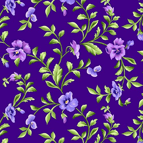 - Emmas Garden~Trailing Pansies on Purple Floral Cotton Fabric by Maywood