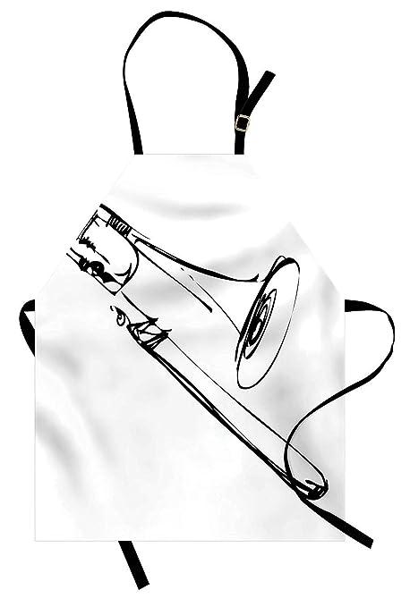 WAZZIT Trombone Delantal de Dibujo artístico de un latón ...