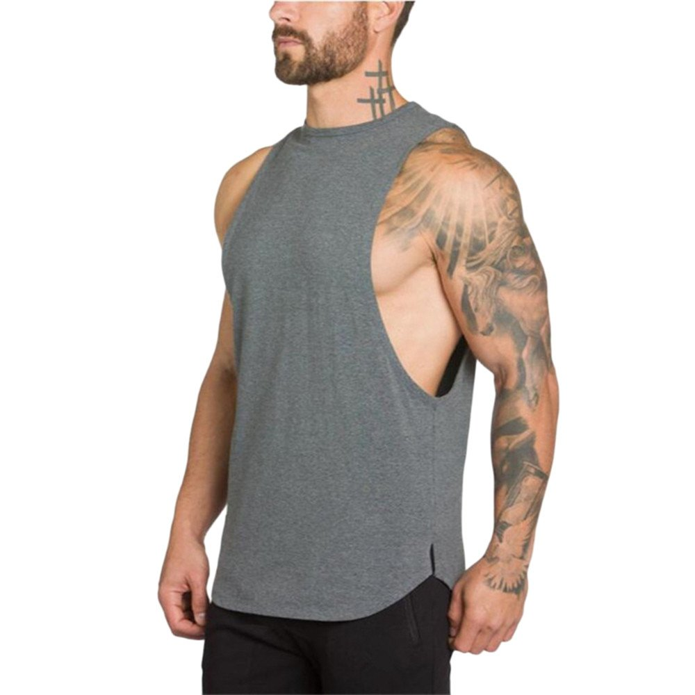 MODOQO Men's Tank Tops Fitness Sleeveless Cotton O-Neck T-Shirt Gym Vest(Grey,L) by MODOQO (Image #2)