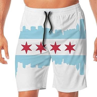 Men Chicago City Flag USA Summer Breathable Swim Trunks Beach Shorts Board Shorts