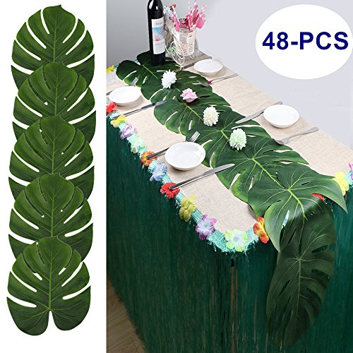 Havana Silk (LJDJ Artificial Palm Leaves - Set of 48 - Large 13.8 Inch Tropical Monstera Leaves Decorations Artificial Silk Fabric Plant Leaves for Hawaiian Luau Safari Jungle Beach Baby Shower Party Supplies)