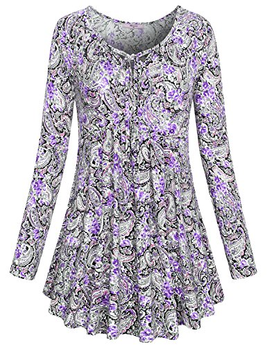 efb257bf492276 Miusey Women's Tie Neck Long Sleeve Floral Printed Flared Hem Tunic Tops