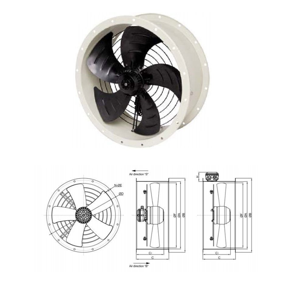 Industrial Duct Fan Cased Axial Commercial Canopy Extractor Fan All Sizes